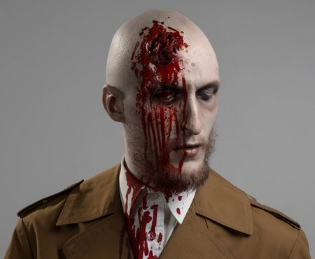 head injury: bald man with a broken head, a bloody man with a beard and mustache, a bloody man with a brown coat and a white shirt, a bloody knife, a bald man, a head injury, bloody theme, halloween theme, killer in studio