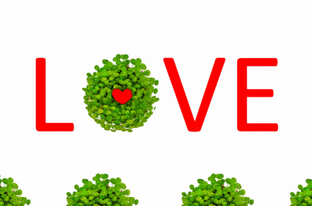 Valentine love symbol surrounded by green lily with love text isolated in white background