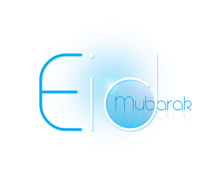 caligraphy: Happy Eid Mubarak Wish in English Caligraphy Isolated in White Background Stock Photo