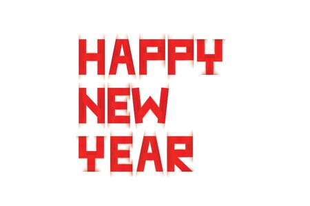 Happy New Year text paper scratch Red and white