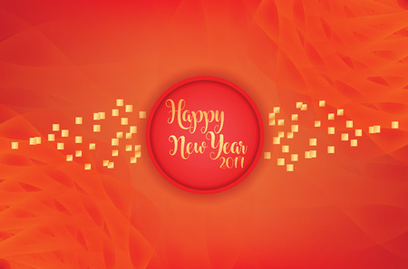Modern Happy New Year Red & golden combination with abstract background Illustration