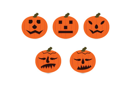 Halloween Pumpkin emoticon set isolated in white background Illustration