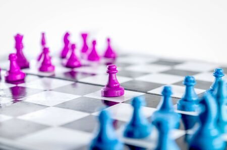 Purple and blue  Pawn chessboard top view isolated in white background