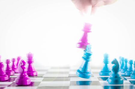 Purple and blue king fighting chessboard top view isolated in white background