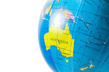 World globe map  Australia closeup location travel destination isolated in white