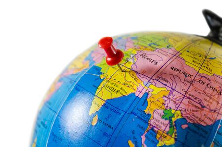 World globe map  India closeup location pinned up travel destination isolated in white Standard-Bild