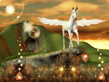 pegaso: hermoso unicornio sobre una colina