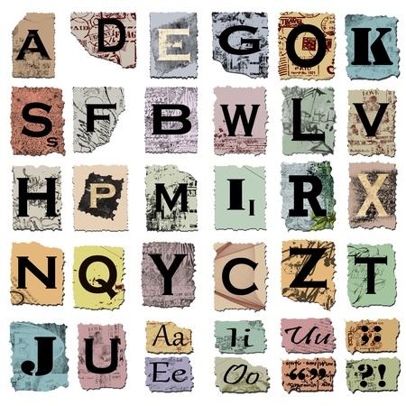 abecedario: signos de puntuaci�n y alfabeto vintage Foto de archivo