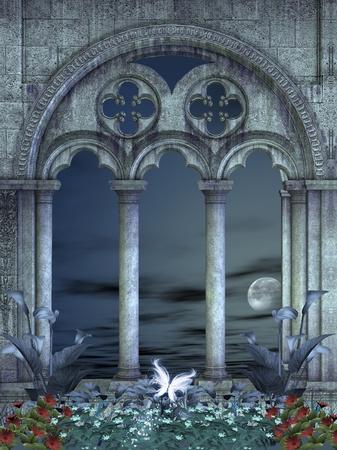 friezes: Fantasy background by night Stock Photo