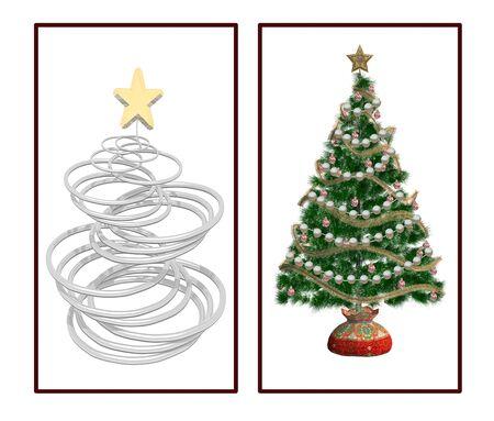 modern christmas tree and traditional tree photo