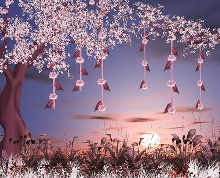 fleurs de cerisiers: Enchanted la nature de la s�rie - cerisiers en fleurs de jardin