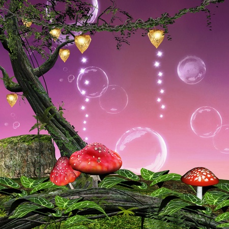 enchanted forest: Enchanted nature series - enchanted mushrooms  Stock Photo