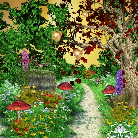 Enchanted nature series - enchanted pathway in the middle of the forest  photo
