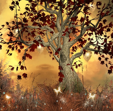 fantasy fairy: Enchanted nature series - fabulous sunset  Stock Photo