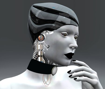 robot girl: Female android  Stock Photo