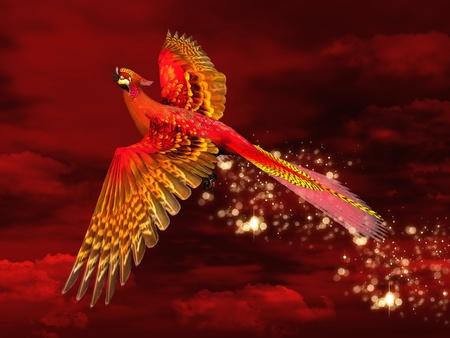 ave fenix: Phoenix a través de un cielo rojo