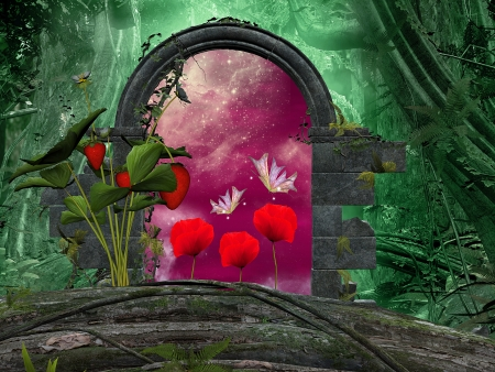 Secret passage with strawberry and poppies - secret passage series  photo