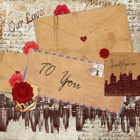 carta de amor: Cartas de amor Vintage  Foto de archivo