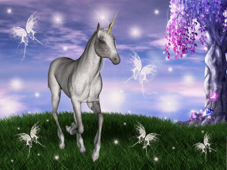 butterfly myth: Unicorn in an enchanted meadow  Stock Photo