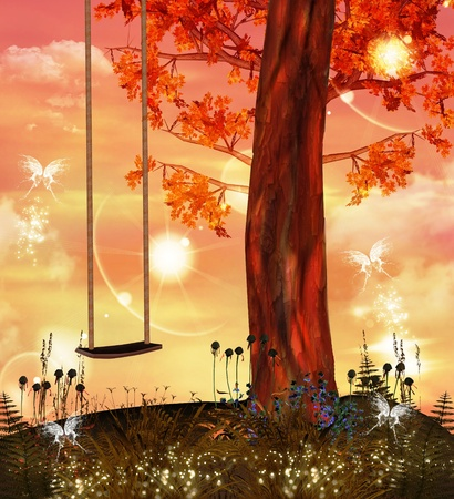 Enchanted nature series - swing on a faerie hill  Stock Photo - 10867009