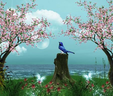 fleurs de cerisiers: Enchanted nature s�rie - Morceau de mer avec des fleurs de cerisier