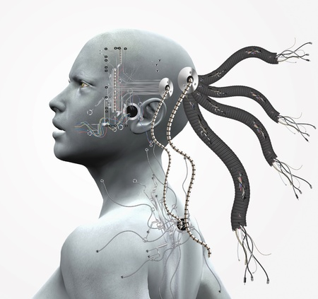 Cyborg with cables and circuits  Stock Photo