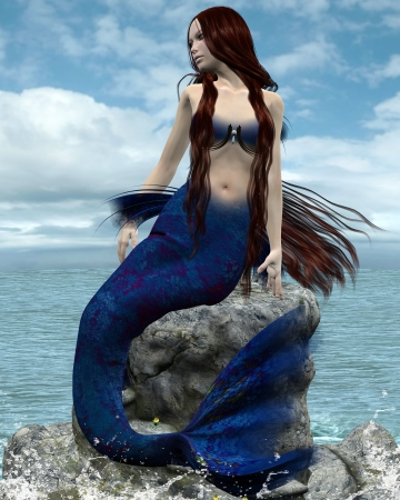 Beautiful mermaid on a rock