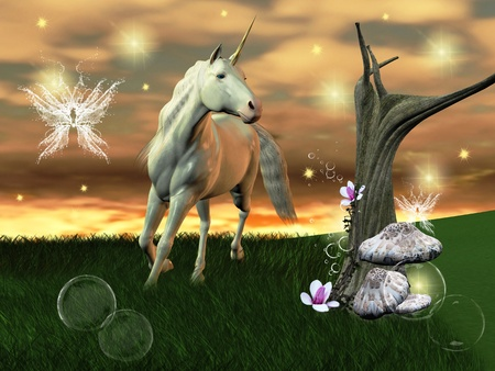 suggestive: wonderful unicorn gallops through an enchanted world