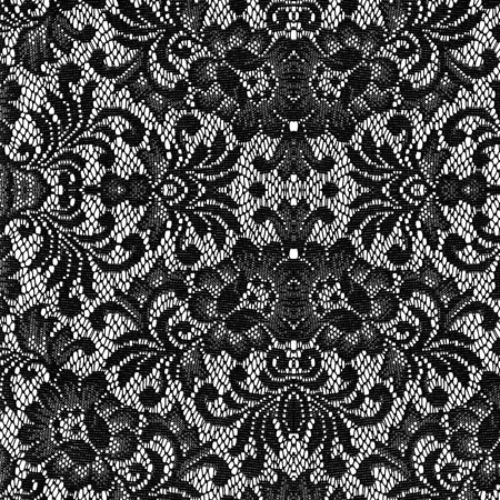 lace background: black lace on white background Stock Photo