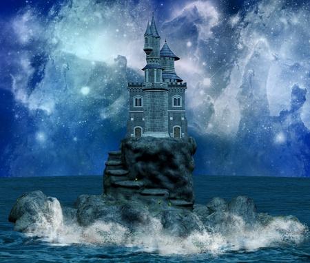 milky way: prachtig kasteel op een eiland en de Melkweg