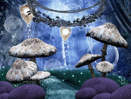 lampara magica: Encantado bosque de fantas�a Foto de archivo
