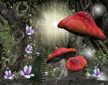 paddenstoel: Enchanted romantische bos