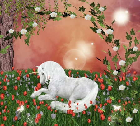 enchanted forest: Beautiful unicorn in an enchanted meadow