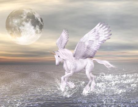 pegasus maravilloso gallops a través del mar