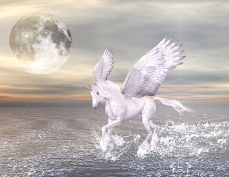 moonlight: wonderful pegasus gallops through the sea