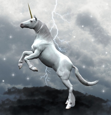 running horses: Unicorn over the clouds