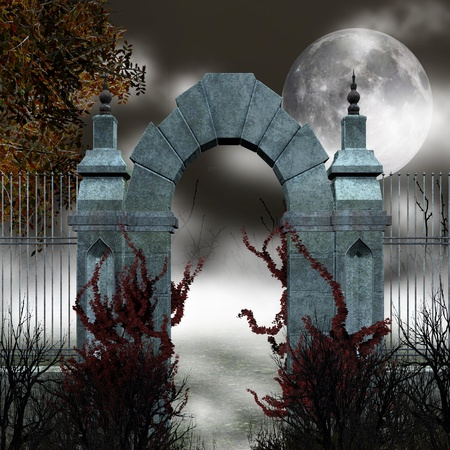 Gothic gate with fog photo