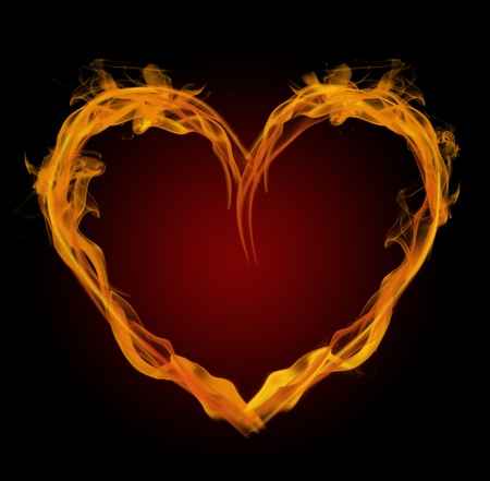 red love heart with flames: Flaming heart Stock Photo