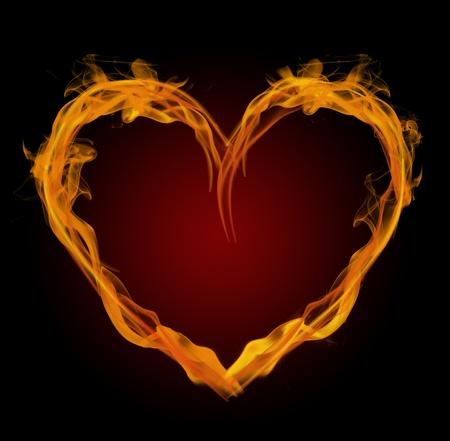 flaming heart: Flaming heart Stock Photo