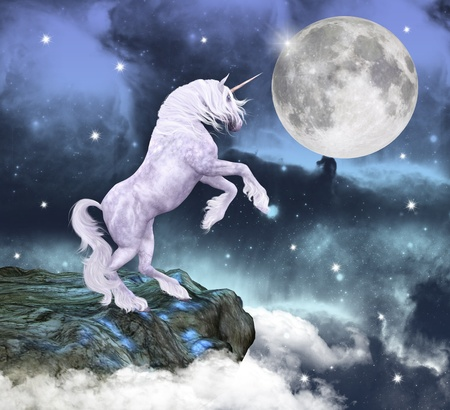 Beautiful unicorn over a fantasy rock