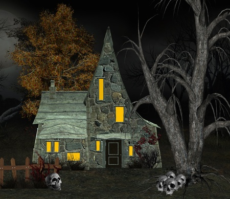 cottage fence: Witch house with skulls Stock Photo