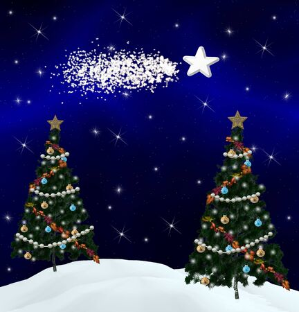 nocturne: Christmas trees and comet