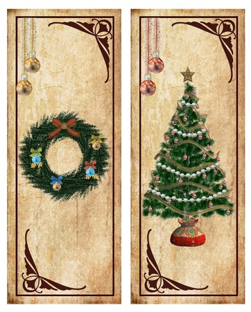 festoons: Vintage christmas labels or postcards