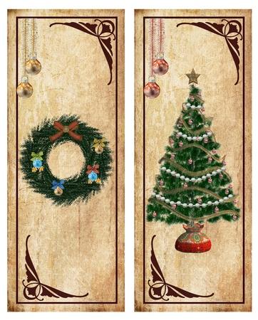 festones: Vintage Navidad etiquetas o tarjetas postales Foto de archivo