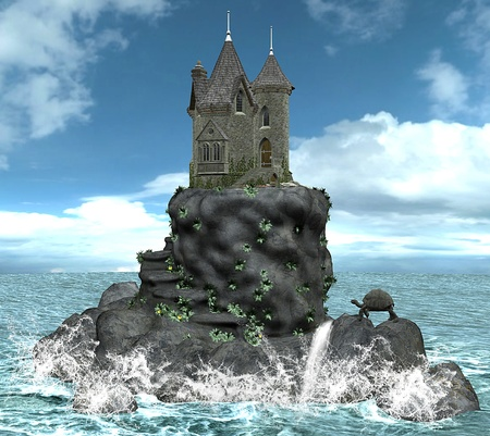 ancient turtles: Castle on a island