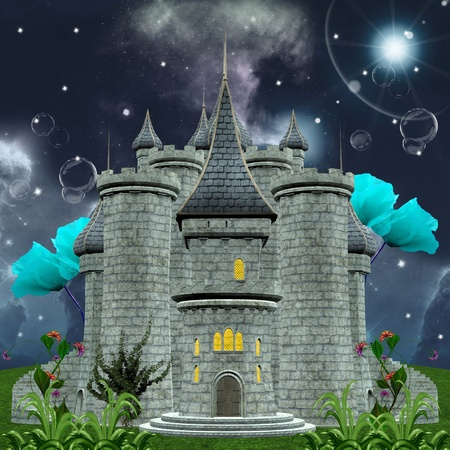 Fairy tale series - enchanted castle by night photo