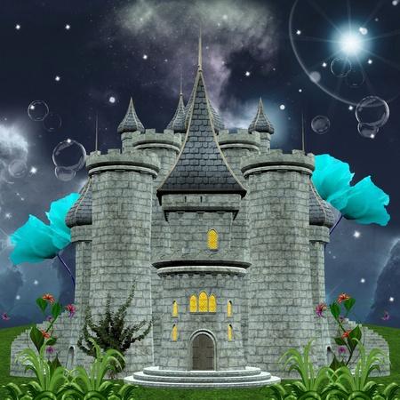 Serie de cuentos de hadas - castillo encantado por la noche
