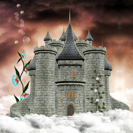 Fairy tale series - enchanted castle over the clouds photo