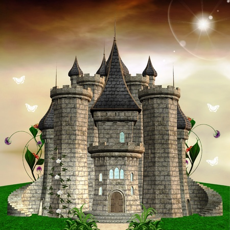hill of the king: Fairy tale series - princess castle Stock Photo
