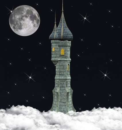 Fairy tale series - wonderful tower over the clouds photo